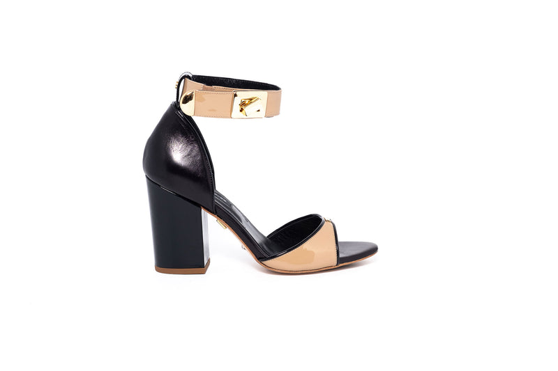 Patent Beige and Black Leather Block Heel Sandal