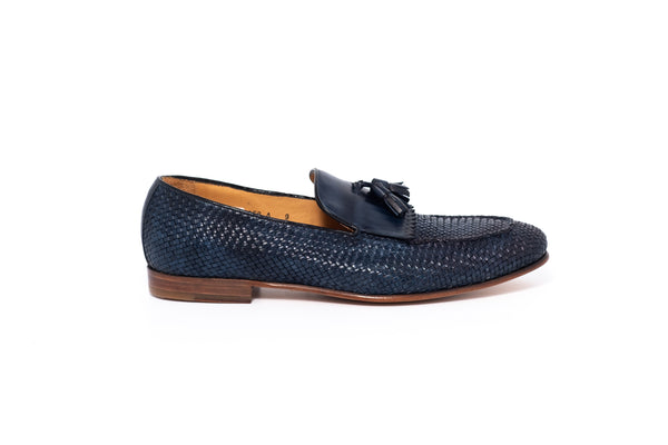 Petroleum Blue Leather Tassel Loafer
