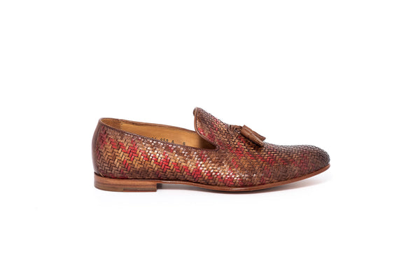 Beige, Tan and Maroon Leather Tassel Loafer