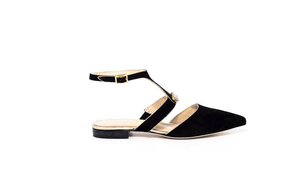 Black and Gold Ankle Strap Flat Sandal
