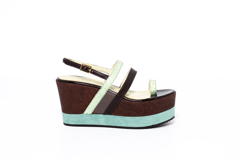Brown Leather and Green Piton Wedge