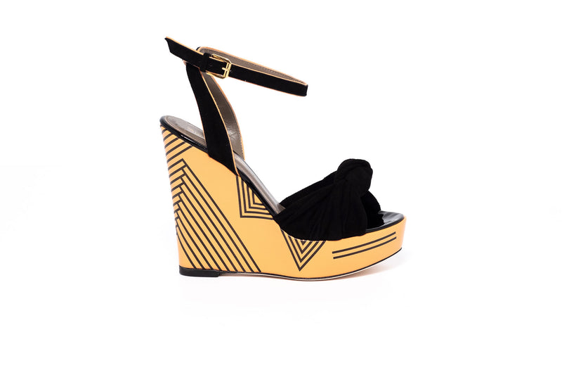 Orange and Black Geometrical Wedge