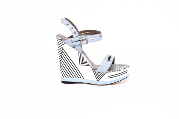Baby blue and White leather ankle strap wedge