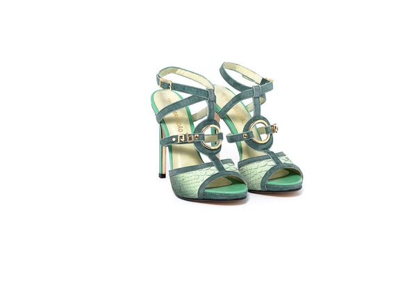 Green Leather and Suede High Heel Sandal