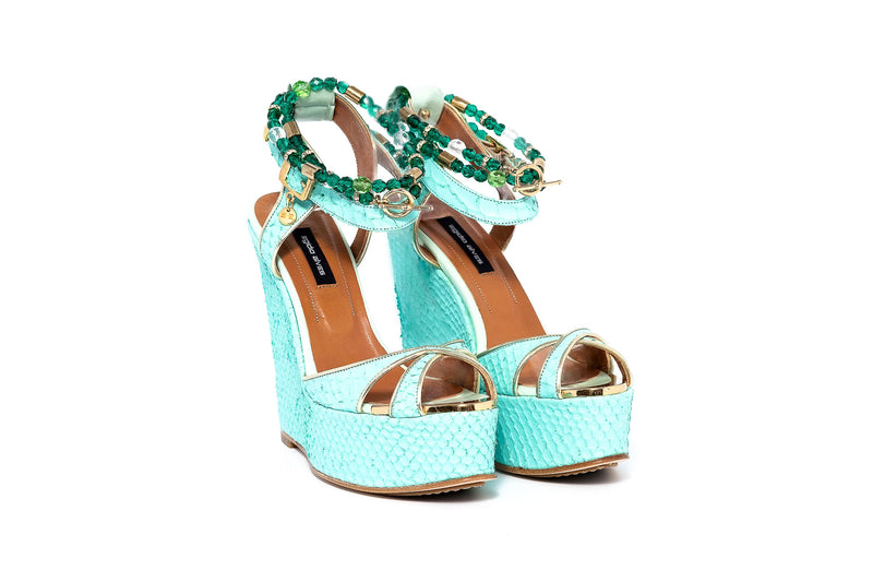 Madrid Natur Green Wedge Sandal