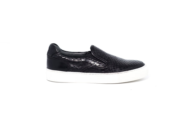 Lamu Black Leather Womens Slip On Sneaker