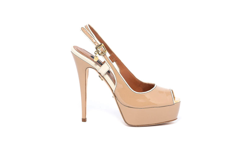 Patent Beige Peeptoe Open Back Pump