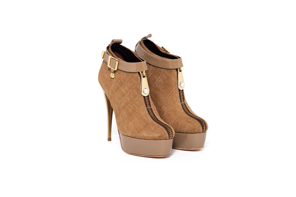 Tan Croco and Beige Patent Ankle Boot