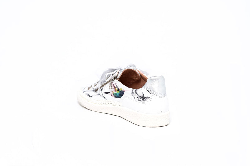 White and Silver Bird Print Sneaker