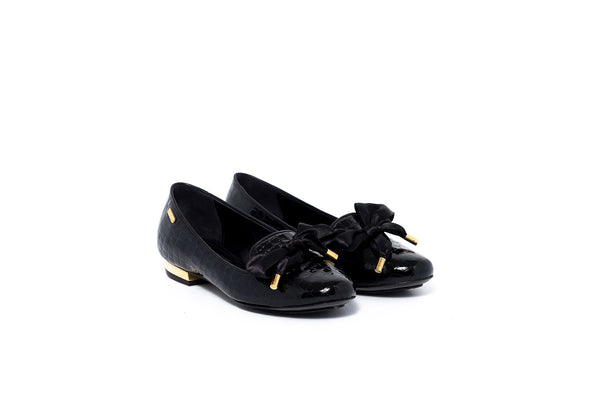 Black Patent Flat with Satin Bow