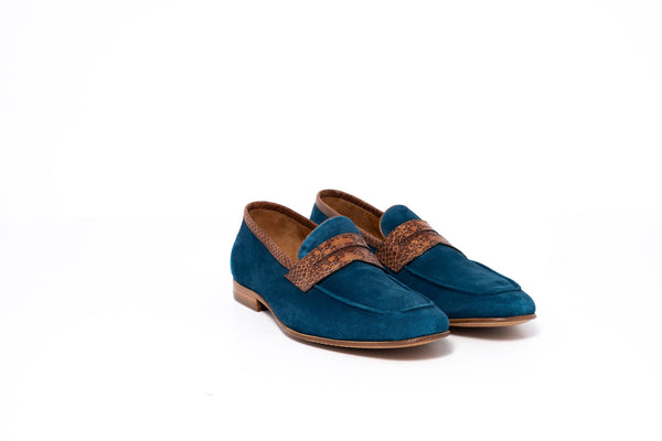Petroleum Blue Suede Loafer with Brown Python Print Trim