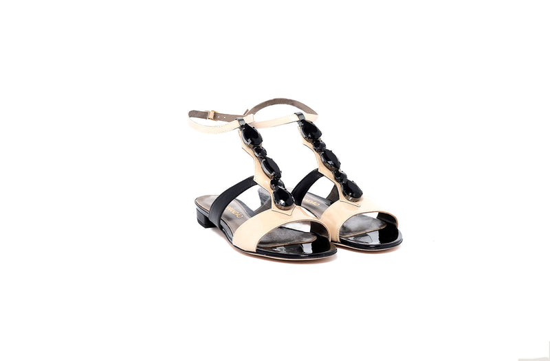 Black and Beige Crystal Flat Leather Sandal