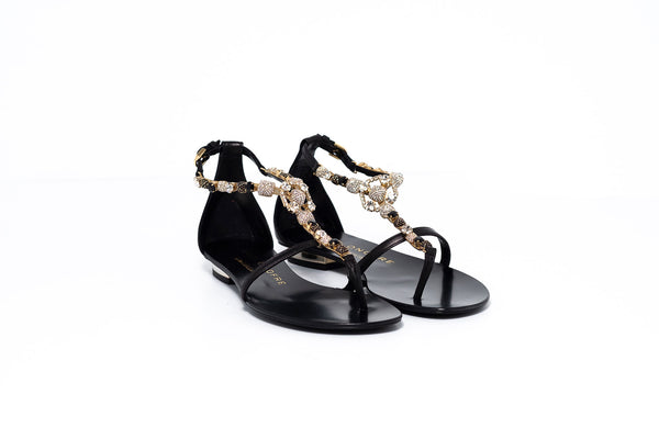Black Sandal with Gold and Black Crystal Detail