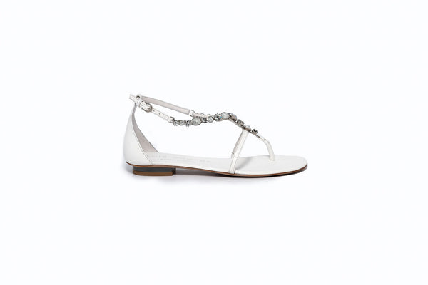 White Sandal with Silver Crystal Detail