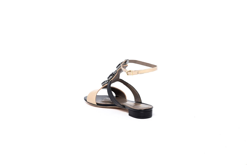 Black and Beige Crystal Flat Sandal