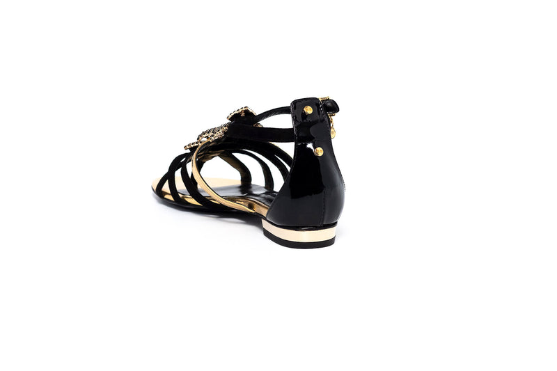 Black and Gold Flat Crystal Sandal