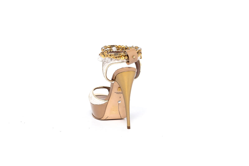 Madrid Natur White High Heel Sandal