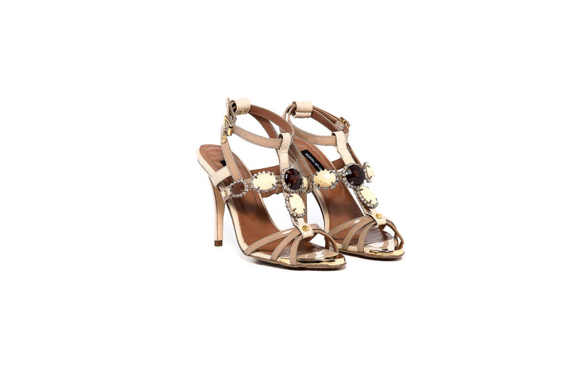 Nude Crystal Strappy Sandal