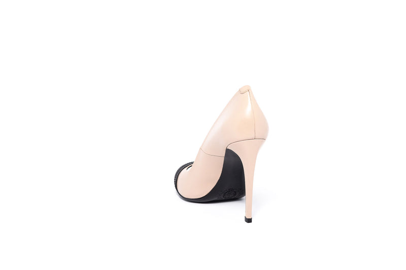 Nude Leather Peeptoe Pump