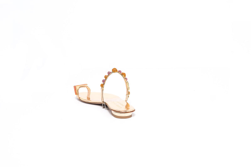 Gold Open Sandal with Orange Crystal Detail