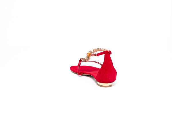 Red Suede Sandal with Orange Crystal Detail