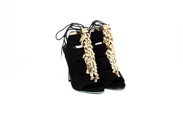 Black Suede Gold Trim High Heel Sandal