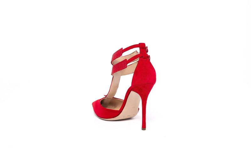 Red Suede Swarovski High Heel Sandal