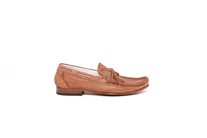 Moina Brown Loafer with lace up detail