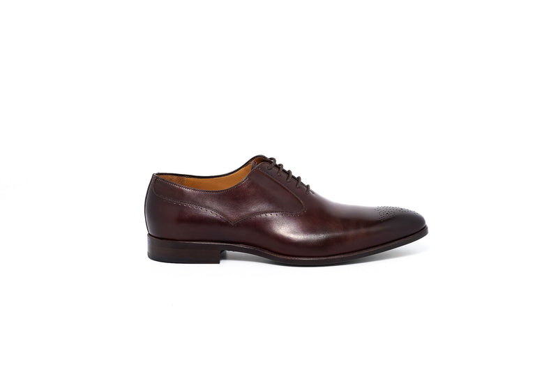 Brown Leather Medallion Oxford Lace up