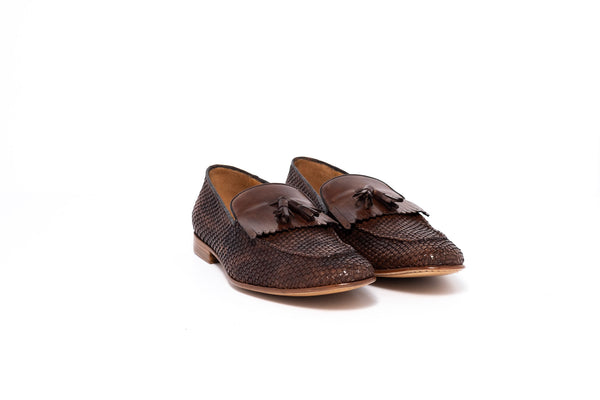 Taupe Shadow Brown Leather Tassel Loafer