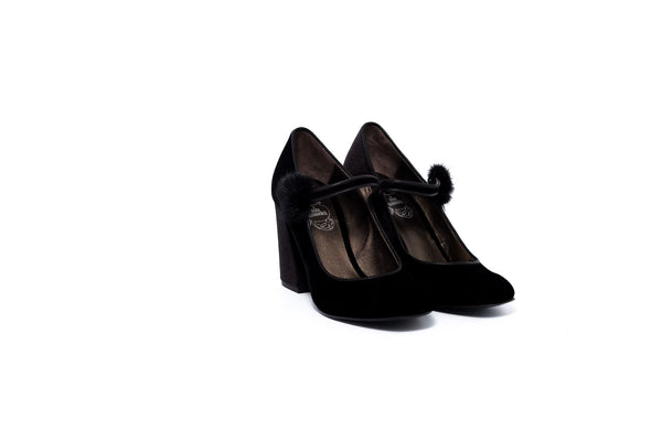 Black Suede Block Heel Pump