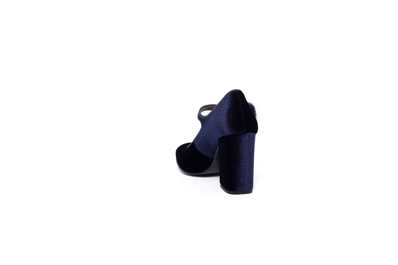 Navy Blue Suede Block Heel Pump