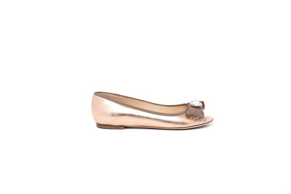Rose Gold Flat with Crystal Embellishments