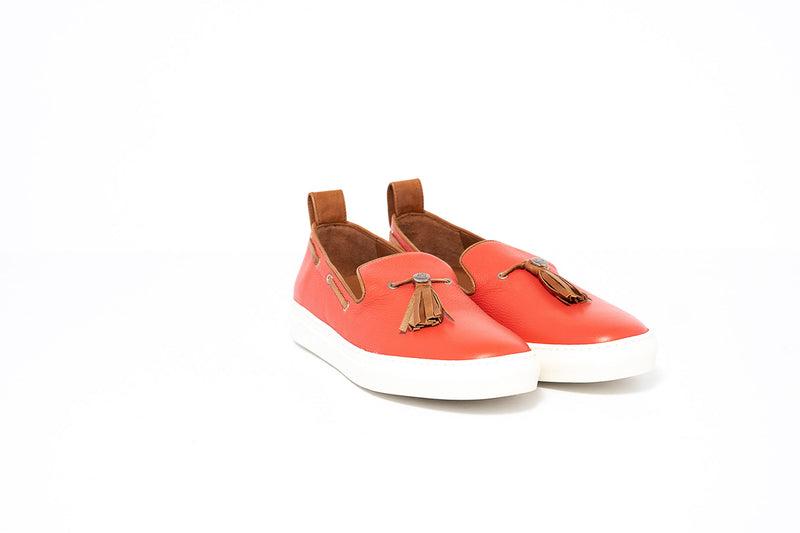 Red and Tan Loafer