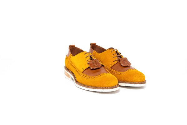 Mustard Yellow Derby Brogue Lace up