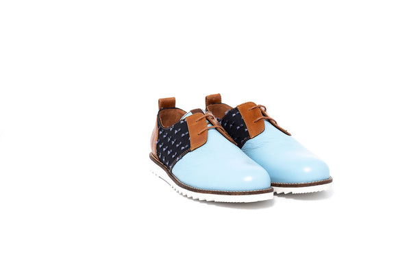 Pastel Blue and Tan Derby Lace up