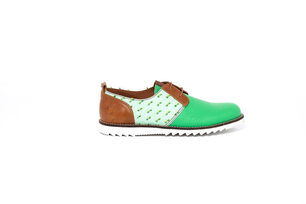 Green and Brown Derby Lace up