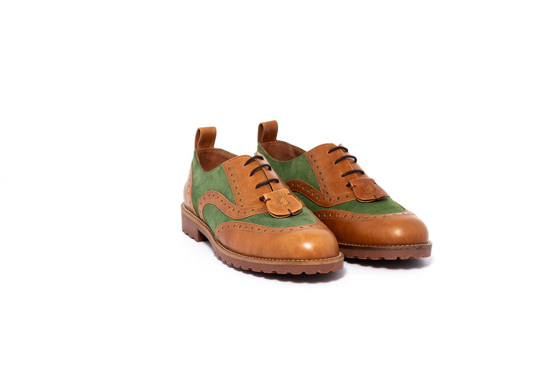 Green and Brown Oxford Brogue Lace up