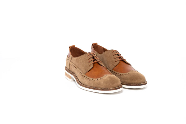 Natural and Brown Derby Brogue Lace up