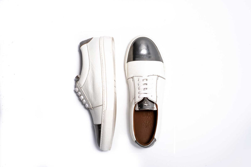 Silver Patent and White Sneaker