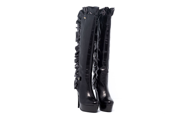 Black Frill High Heel Boot