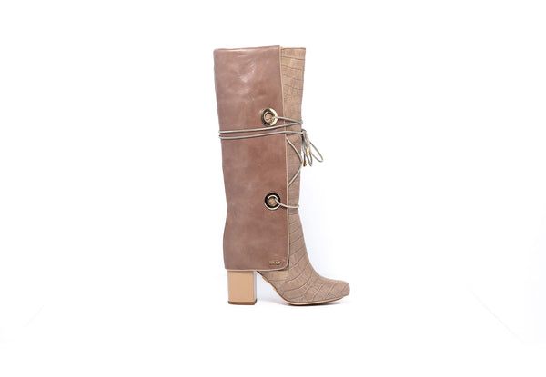Croco Taupe Knee High Boot