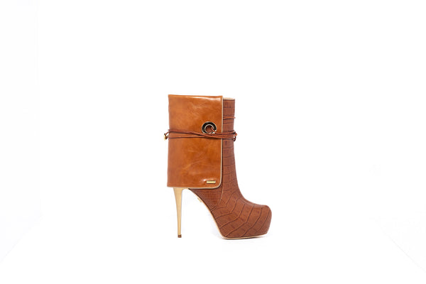 Croco Camel Ankle Boot