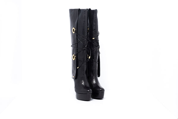 Black Croco Knee High Boot