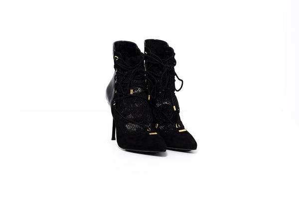Black Suede with Lace High Heel Ankle Bootie