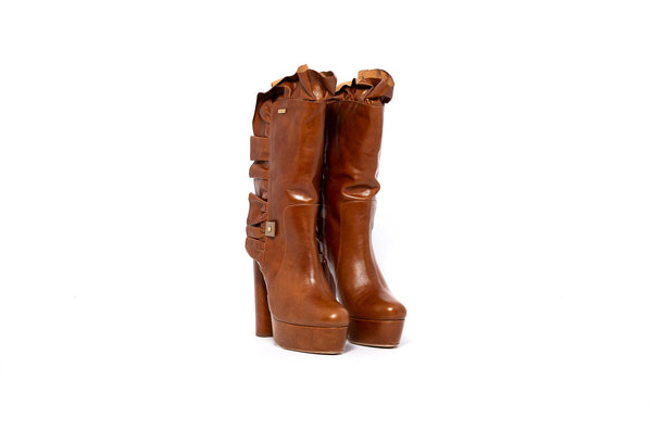 Camel Frill High Heel Boot