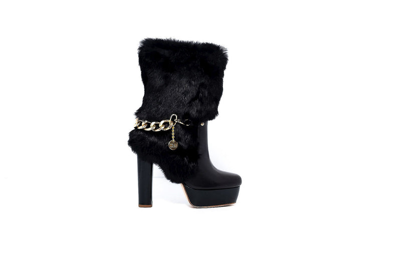 Black Leather High Heel Boot