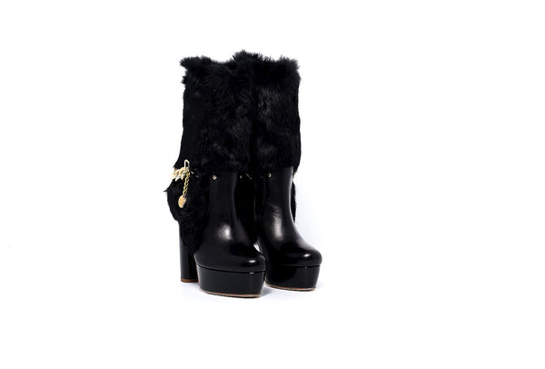 Black Leather and Fur High Heel Boot