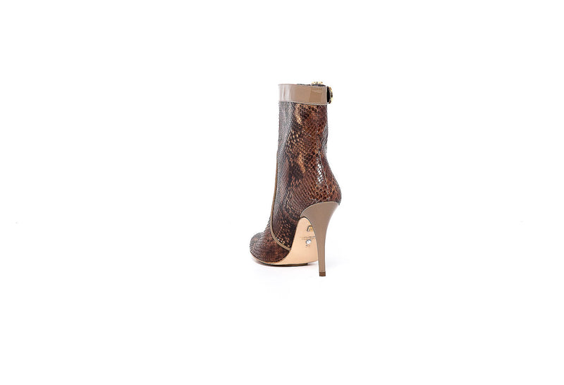 Brown Python and Beige Patent Trim Ankle Boot