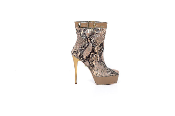 Brown and Beige Patent High Heel Ankle Boot